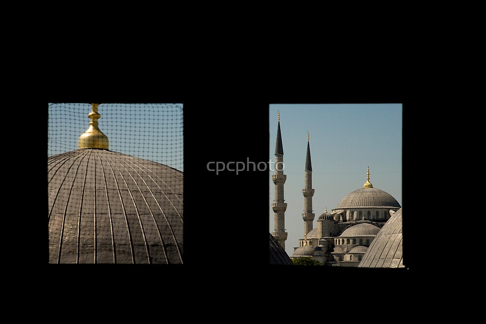 Blue Mosque seen from a window in the Hagia Sofia.  by cpcphoto