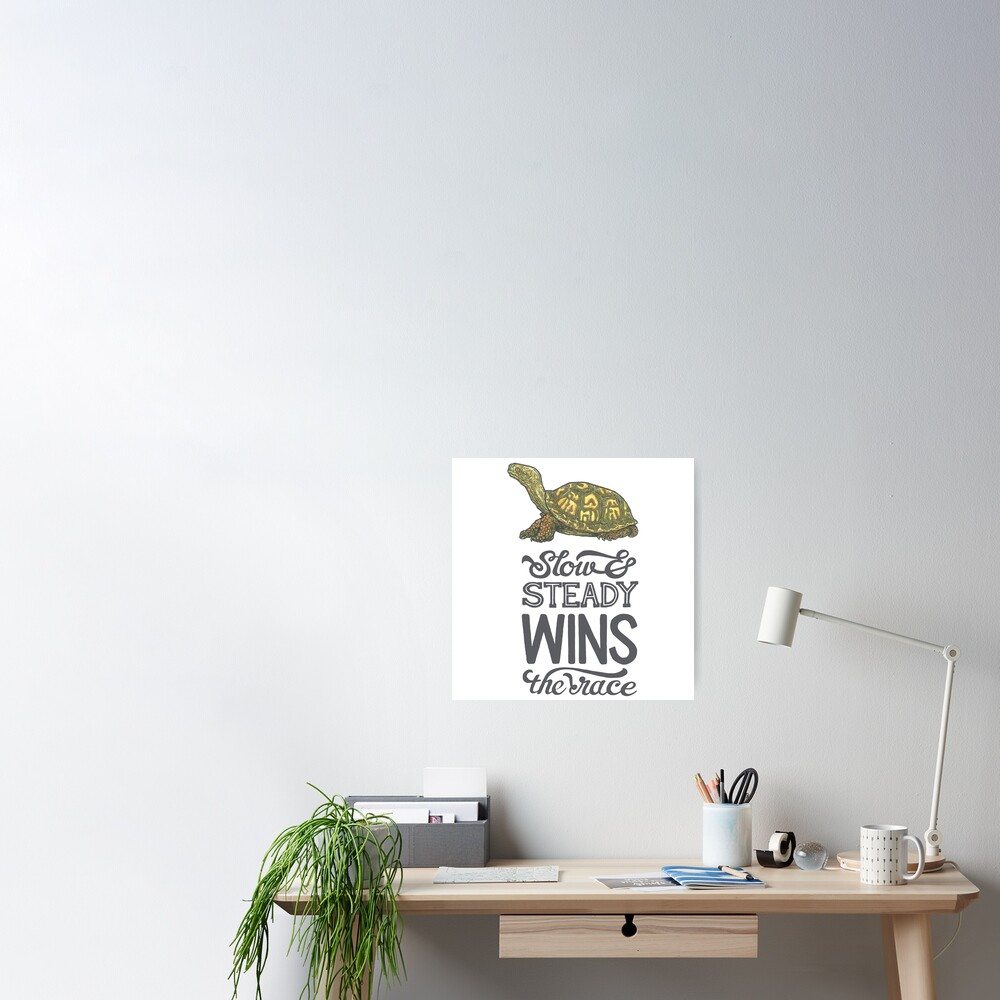 Slow Steady Wins The Race Poster By Calebfaires Redbubble