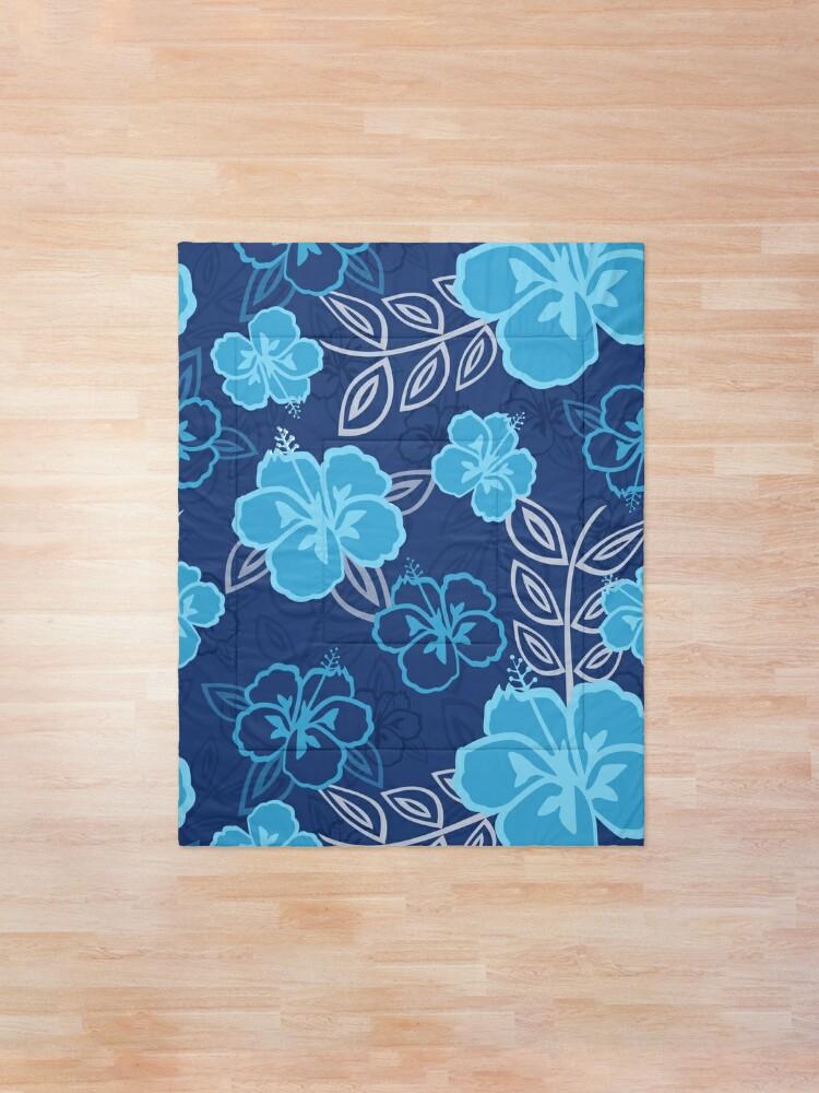 Alternate view of Blue Hawaiian Hibiscus Pattern Comforter