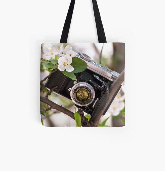 Vintage Camera Apple Blossoms All Over Print Tote Bag