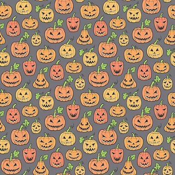 Halloween Jack-O-Lantern Scary Pumpkin Orange on Grey by CajaDesign