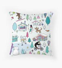 Alpine Animal Antics - original - Cute winter pattern by Cecca Designs Throw Pillow