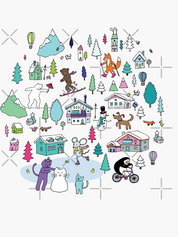 Alpine Animal Antics - original - Cute winter pattern by Cecca Designs by Cecca-Designs