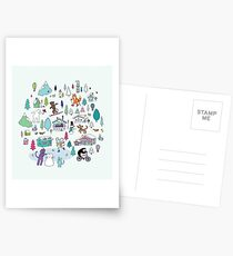 Alpine Animal Antics - original - Cute winter pattern by Cecca Designs Postcards
