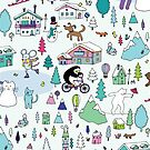 Alpine Animal Antics - original - Cute winter pattern by Cecca Designs by Cecca-Designs