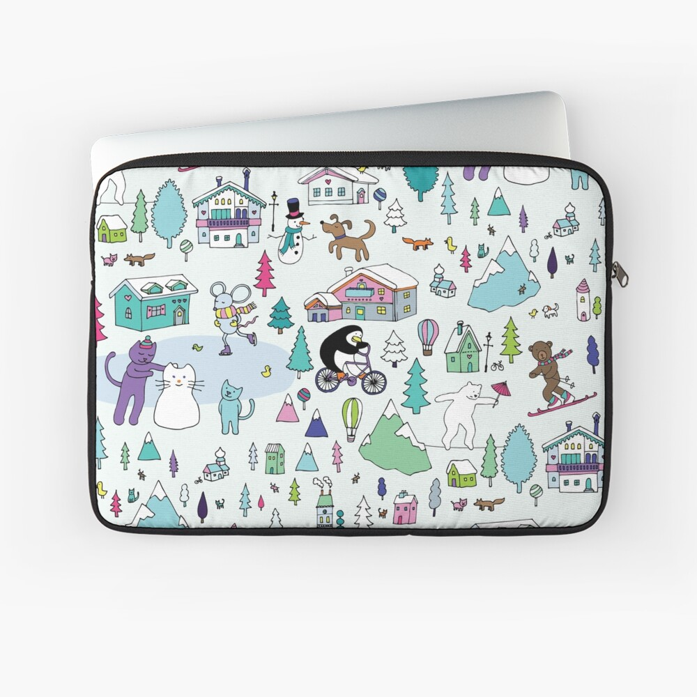 Alpine Animal Antics - original - Cute winter pattern by Cecca Designs Laptop Sleeve