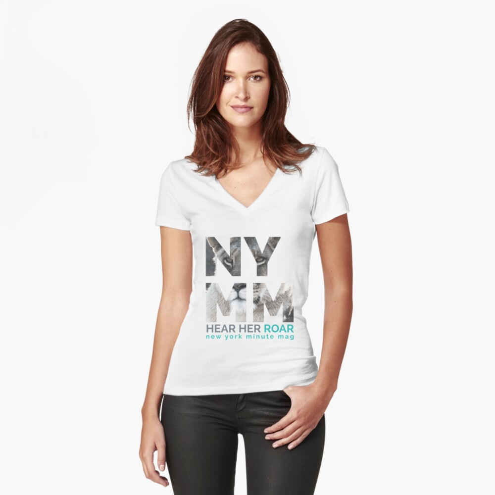 NYMM Lioness Women's Fitted V-Neck T-Shirt Front