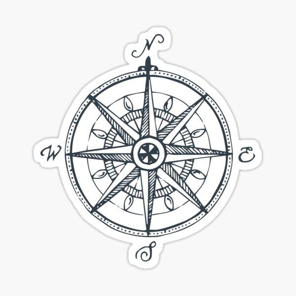 Hand Illustrated Compass Sticker