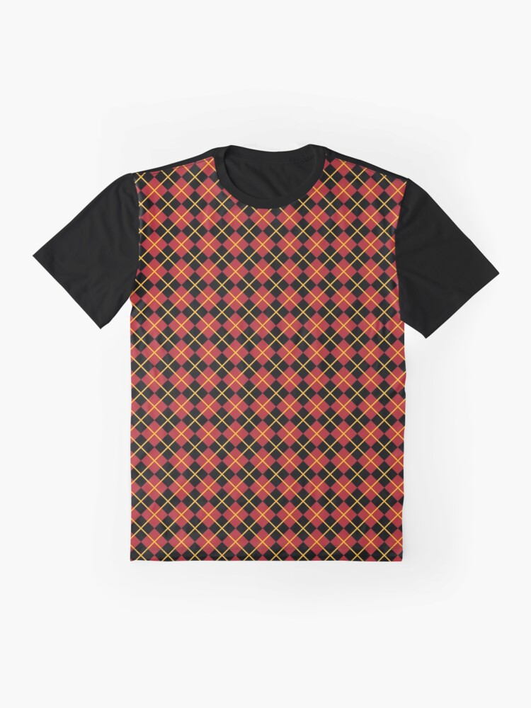Alternate view of Diamonds and Stripes - Red and Gold Graphic T-Shirt