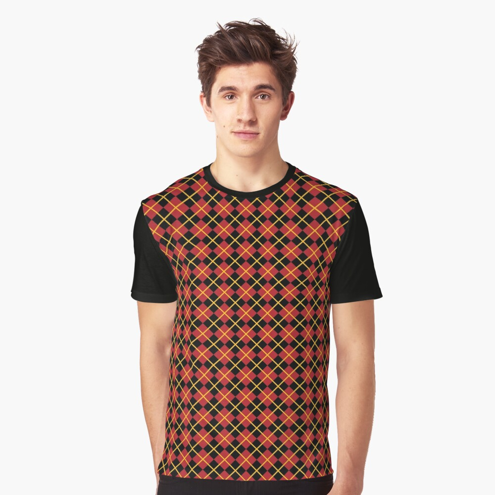 Diamonds and Stripes - Red and Gold Graphic T-Shirt
