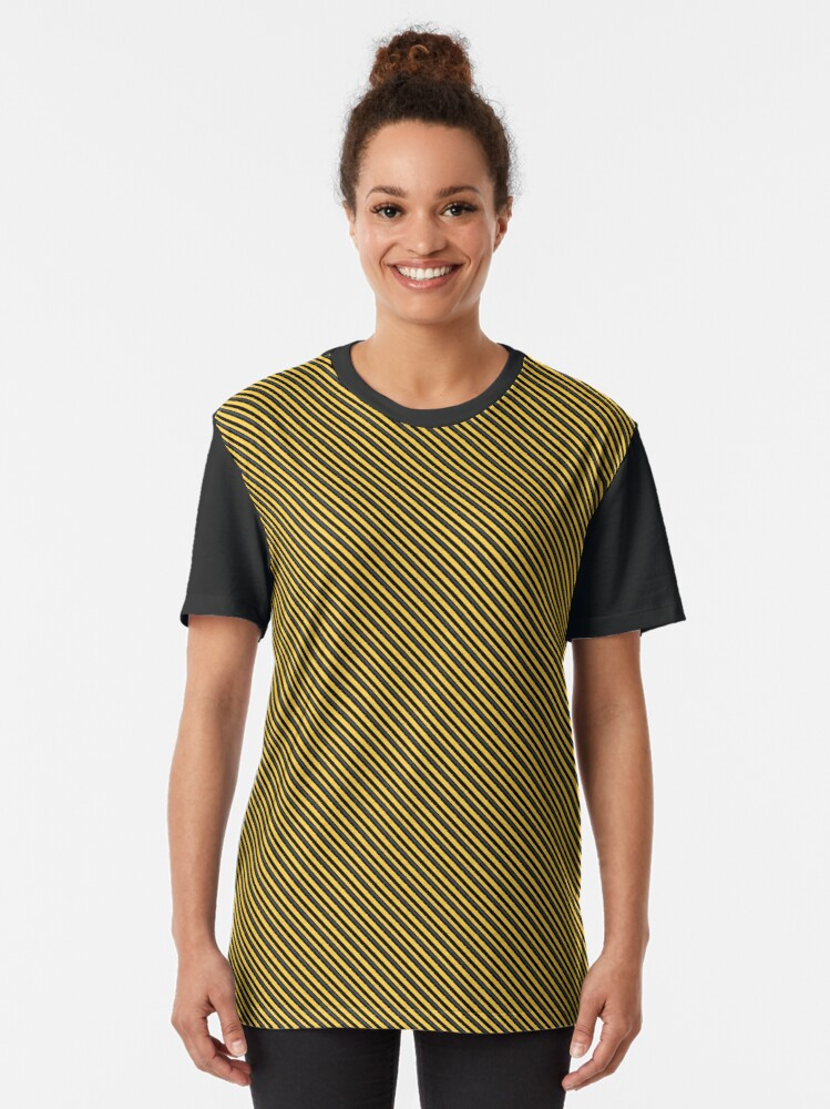 Alternate view of Stripes (Small) - Yellow and Black Graphic T-Shirt