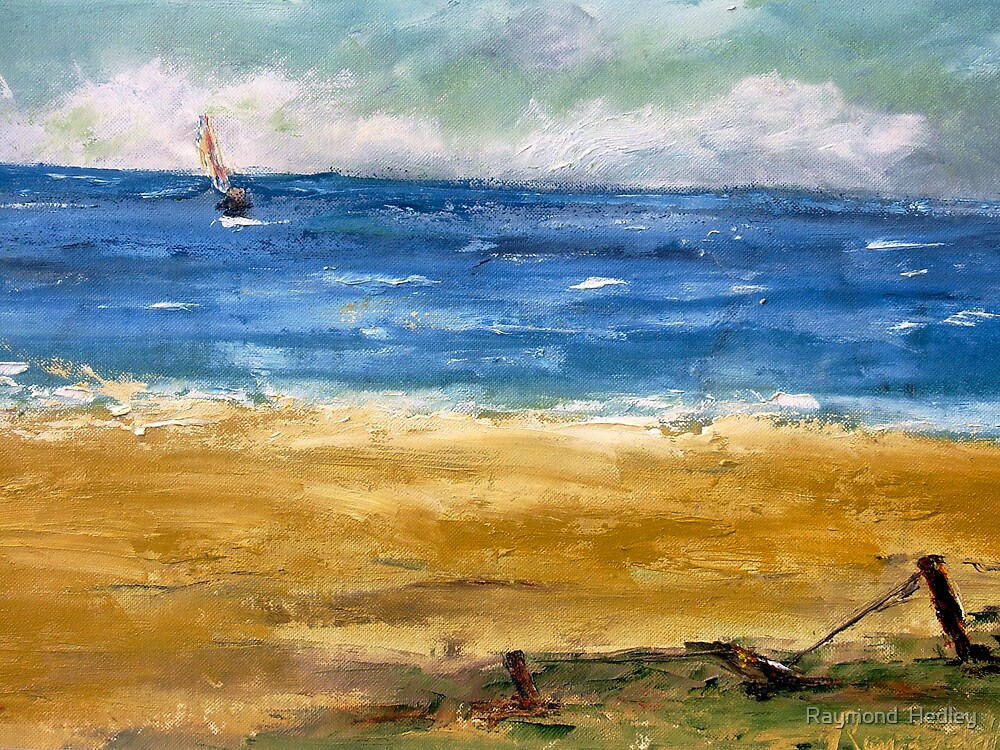 sea and beach and sky with boat. by Raymond  Hedley