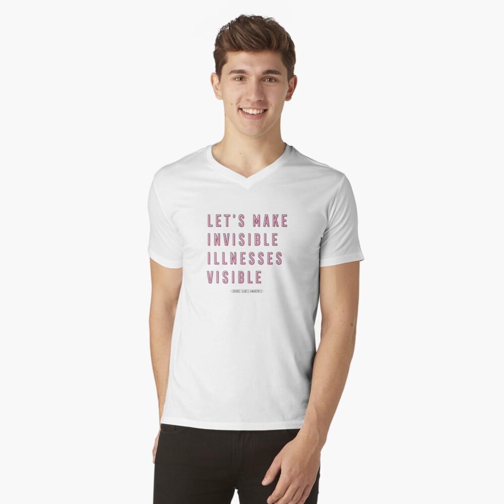 Concientización sobre enfermedades crónicas, hagamos visibles las enfermedades invisibles Camiseta de cuello en V