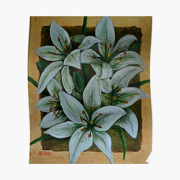 White Tiger Lilies Poster