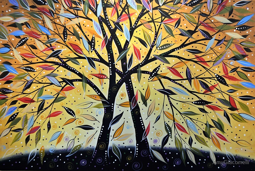 Original landscape tree art painting / New Day Dawning by AmyGiacomelli