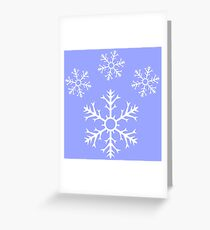 Ice Blue Snowflake Pawprint Greeting Card