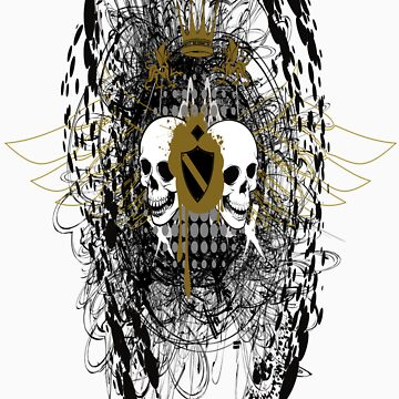 Two Skulls In A Vector Mess by Foil