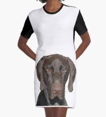 Glossy Grizzly German Shorthaired Pointer Graphic T-Shirt Dress