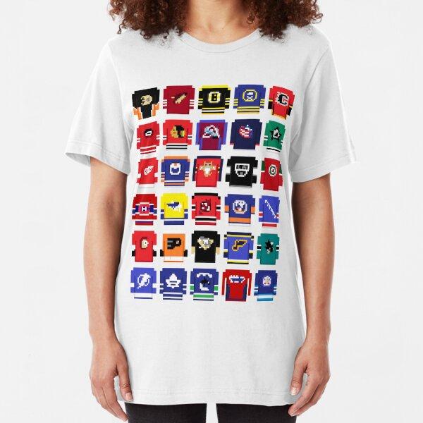 8-Bit Hockey Jerseys 2 Slim Fit T-Shirt