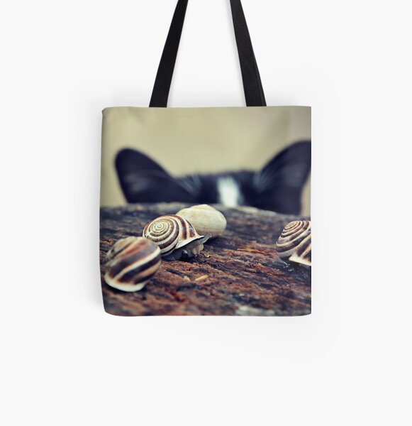 Cat Snails All Over Print Tote Bag