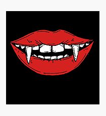 Vampire red lips on black background Photographic Print