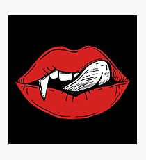 Vampire red lips on black and white background Photographic Print