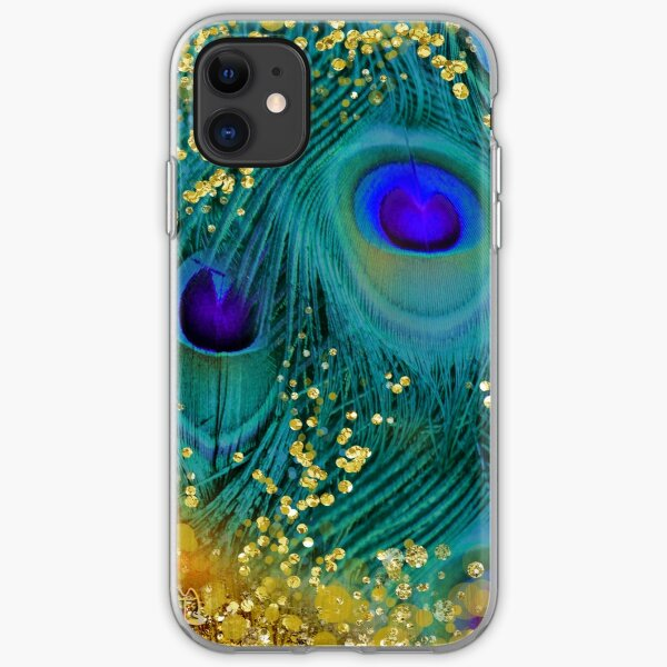 Dreamy peacock feathers, teal and purple, glimmering gold iPhone Soft Case
