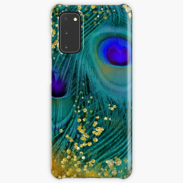 Dreamy peacock feathers, teal and purple, glimmering gold Samsung Galaxy Snap Case