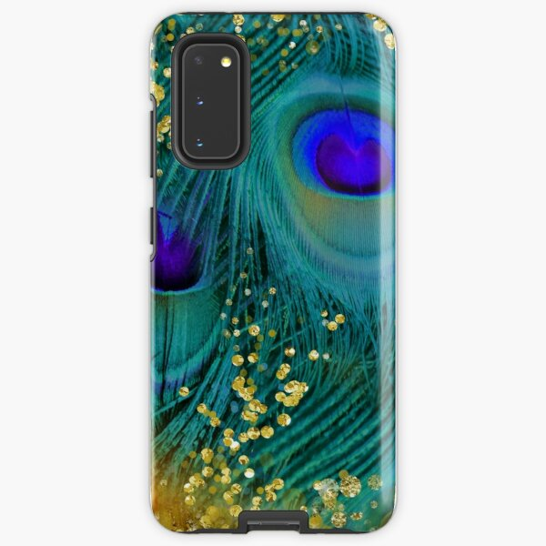 Dreamy peacock feathers, teal and purple, glimmering gold Samsung Galaxy Tough Case