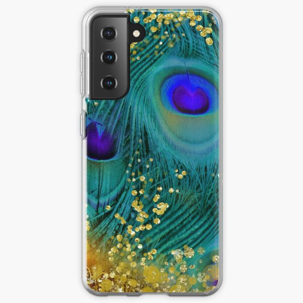 Dreamy peacock feathers, teal and purple, glimmering gold Samsung Galaxy Soft Case