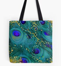 Dreamy peacock feathers, teal and purple, glimmering gold Tote Bag