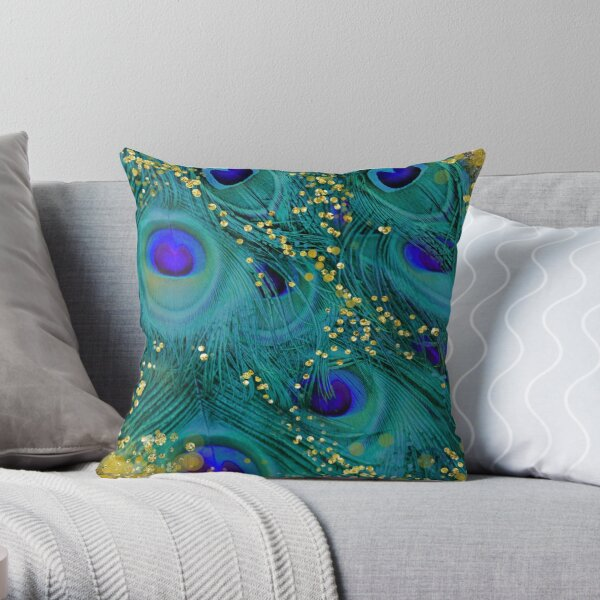 Dreamy peacock feathers, teal and purple, glimmering gold Throw Pillow