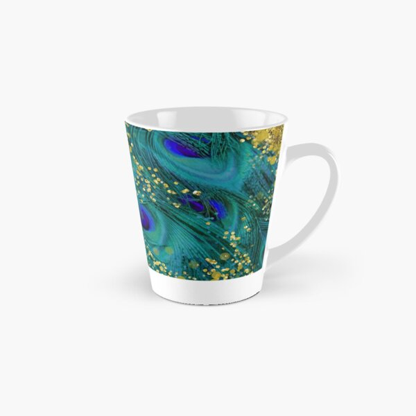 Dreamy peacock feathers, teal and purple, glimmering gold Tall Mug