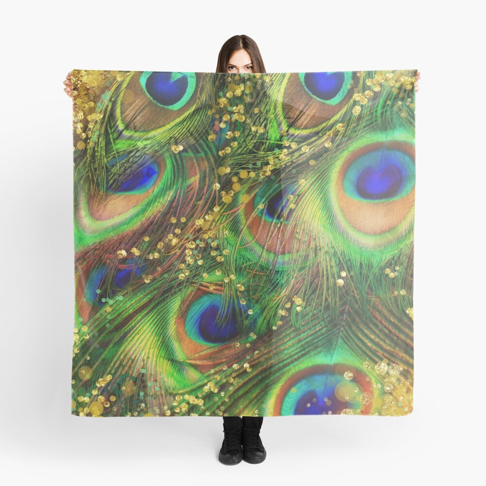 Fantasy Peacock Feathers laden with gold Scarf