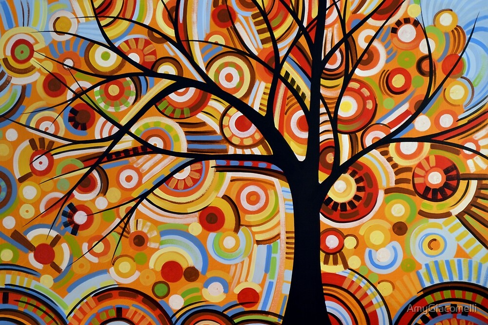 Abstract landscape tree art painting / Autumn by AmyGiacomelli