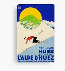 Art Deco era vintage Swiss Alps sport ad Canvas Print