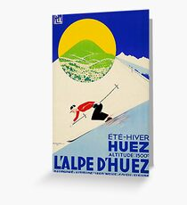 Art Deco era vintage Swiss Alps sport ad Greeting Card