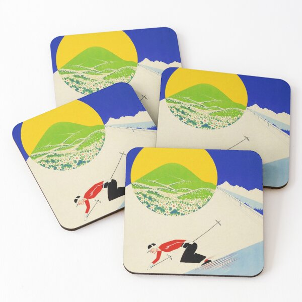 Art Deco era vintage Swiss Alps sport ad Coasters (Set of 4)