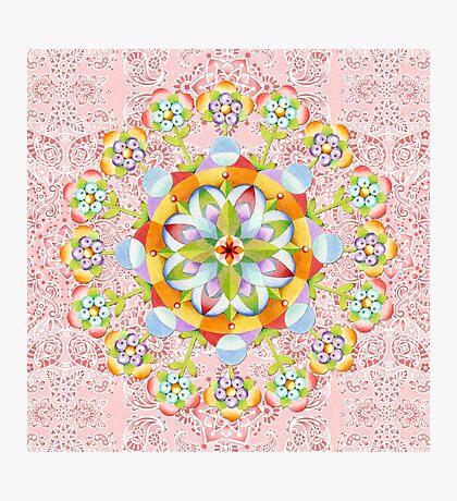 Pink Paisley Flower Mandala Photographic Print