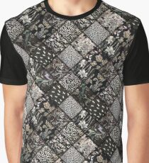 Faux Patchwork Quilting - Black Graphic T-Shirt