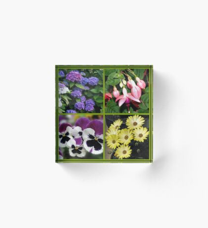 Sommer-Nostalgie - Blumencollage Acrylblock