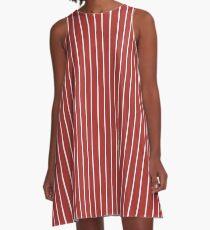 Solid Aurora Red & Thin White Pinstripe A-Line Dress