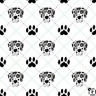 Merle Great Dane Paw Print Plaid by SonneFaunArt