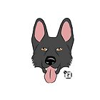 Black German Shepherd Dog Face by SonneFaunArt