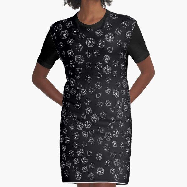 D&D DICE Pattern - Black Graphic T-Shirt Dress