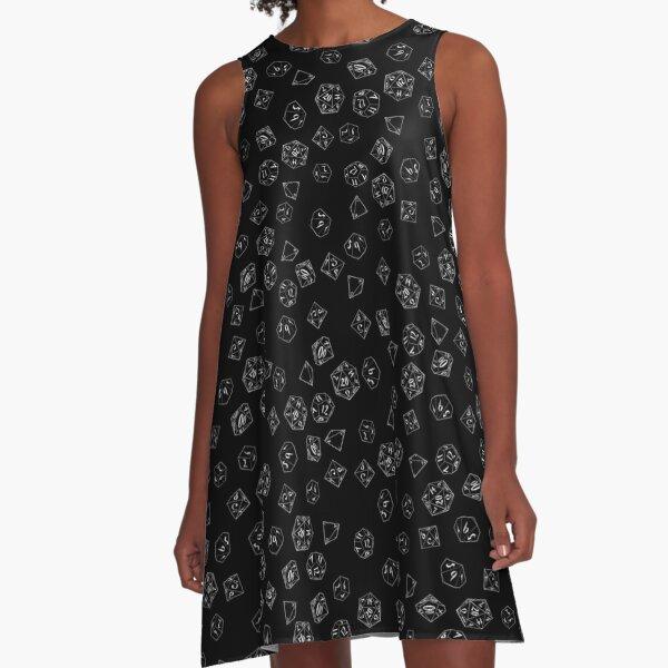 D&D DICE Pattern - Black A-Line Dress