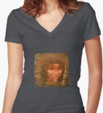 Serene warrior Women's Fitted V-Neck T-Shirt