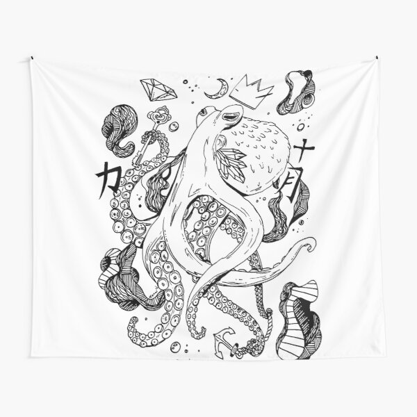 Royal Octopus Black and white Tapestry