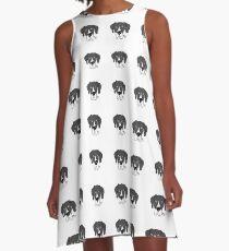 Mantle Great Dane Dog Face A-Line Dress