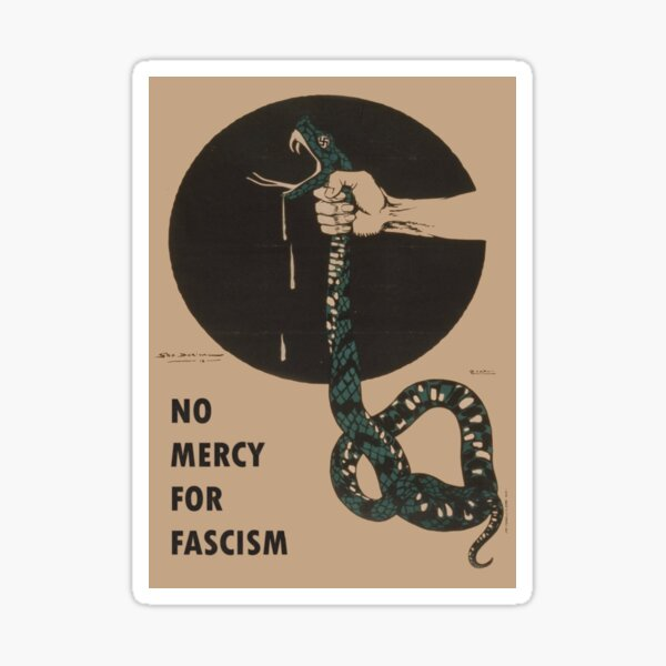 No Mercy For Fascism! - Vintage WWII poster design Sticker